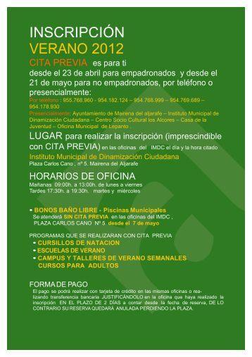 INSCRIPCIÓN VERANO 2012 - Ayuntamiento de Mairena del Aljarafe