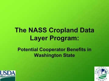 The NASS Cropland Data Layer Program: - National Agricultural ...