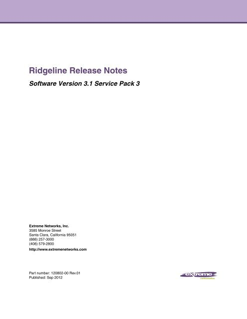 Ridgeline 3 1 SP3 Release Notes - Extreme Networks