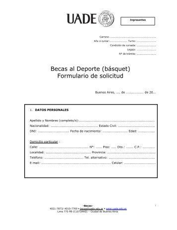 Becas al Deporte (básquet) Formulario de solicitud