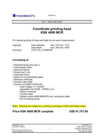 Coordinate grinding head KSK 4000 MCR - Novatech Inc.