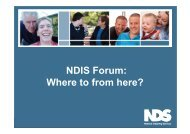 NDIS Forum: Where to from here? - IDEASWA