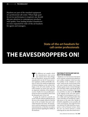 THE EAVESDROPPERS ON! - Callcenter-Profi
