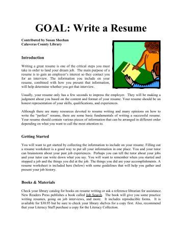 """Resume Worksheet €"""" For Brainstorming And Information Collection"""