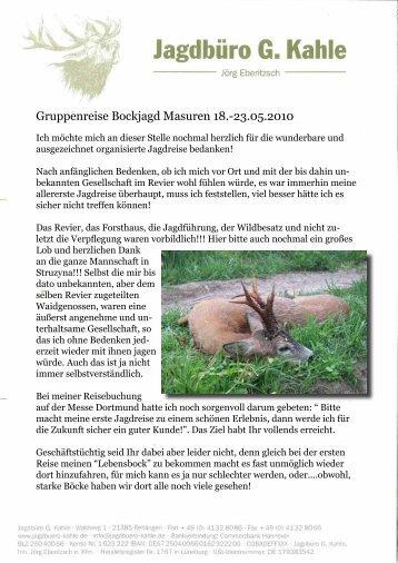 Bockjagd – Gruppenreise nach Masuren - Jagdbüro G. Kahle
