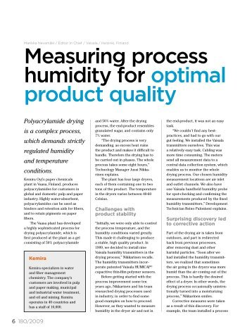 Measuring process humidity for optimal product quality - Vaisala