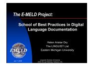 The E-MELD Project: - Open Language Archives Community