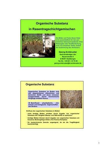 Organische Substanz in Rasentragschichtgemischen