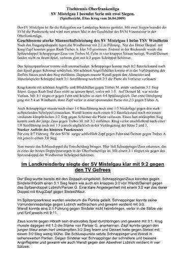 Spielbericht, Elias Krug vom 26.04.2009 - Tt-mistelgau.de