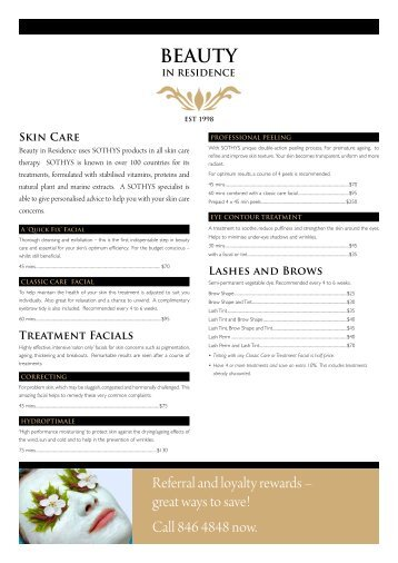 Skin Care - Beauty in Residence