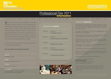 Professional Day 2011 - Carnegie Mellon University in Qatar