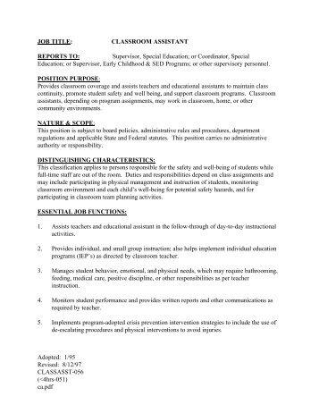 Classroom Assistant Job Description