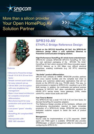SPR310-AV Eth/PLC Bridge Reference Design Product Brief