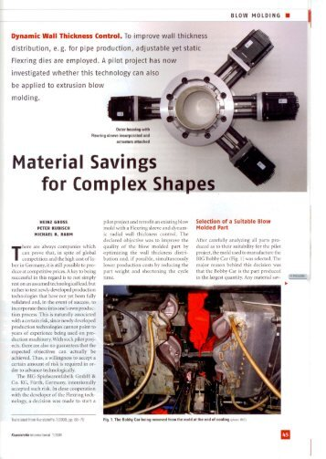 Material Savings for Complex Sha.pes - Blow Moulding Controls