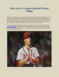 Best Area To Acquire Baseball Tickets Online