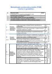 Metodologija ocenjevanja projekta (PAM) - merila in opredelitve - 1 2 3