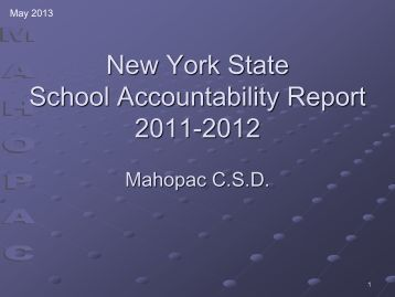 School Report Card Presentation to the Board- May 14, 2013