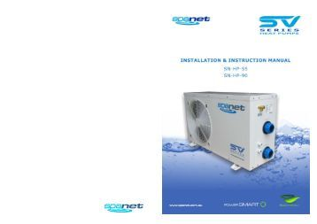 SV Series Heat Pump Manual - West Coast Spas