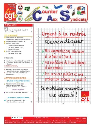 CAS 496.indd - Fédération CGT des transports - La cgt
