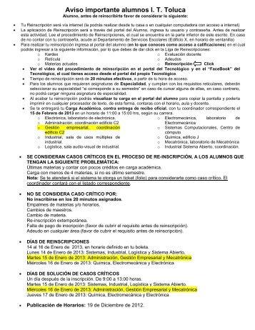 Aviso importante alumnos I. T. Toluca - Instituto Tecnológico de Toluca