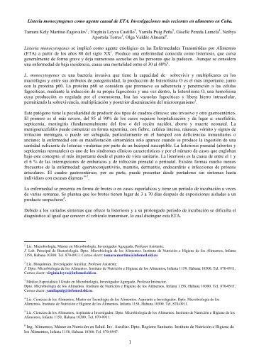 Listeria monocytogenes como agente causal de ETA ...