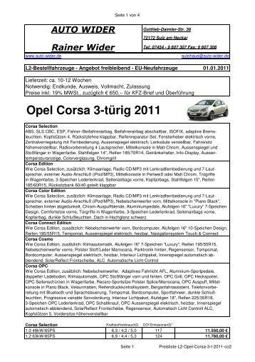 Opel Corsa 3-türig 2011 - AUTO WIDER