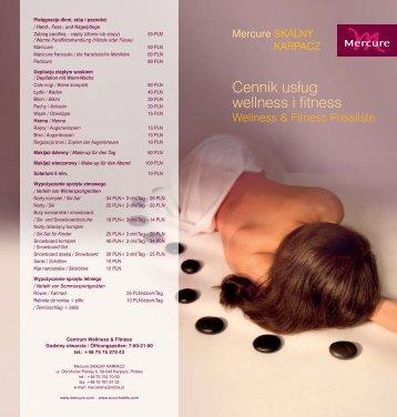 Cennik usług wellness i fitness - Mercure Skalny Karpacz