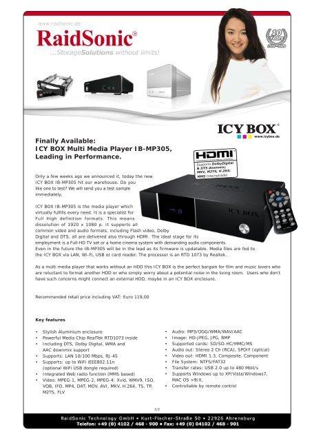 RAIDSONIC IB-MP305A-B MEDIA PLAYER DRIVERS FOR MAC