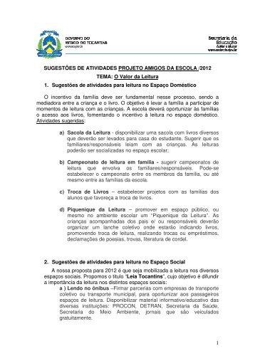 1 SUGESTÕES DE ATIVIDADES PROJETO AMIGOS DA ESCOLA ...