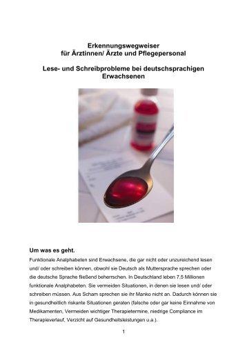 Erkennungswegweiser für Ärztinnen/ Ärzte und Pflegepersonal Lese ...