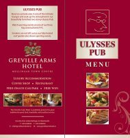 Sample Menu Available Here - Greville Arms Hotel