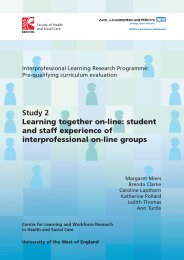 Learning together - HSC Home - University of the West of England