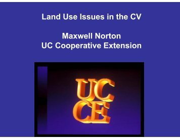 Land Use Issues in the CV - Merced County