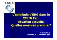 L'épidémie d'ERG dans le CCLIN Est : situation actuelle. Quelles ...