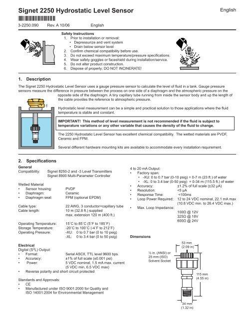 2250 Hydrostatic Level Sensor - Peterss