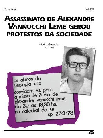 assassinato de alexandre vannucchi leme gerou protestos ... - Adusp