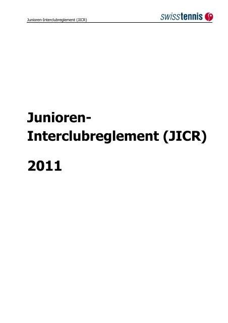 Junioren- Interclubreglement (JICR) - beim Tennisclub Frauenfeld