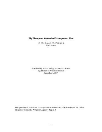 2007 Water Quality Management Plan - Big Thompson Watershed ...