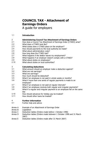 Attachment of Earnings Order guidance - Bassetlaw District Council