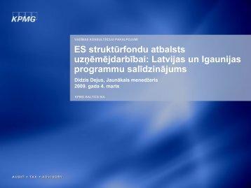 ES struktūrfondu atbalsts uzņēmējdarbībai: Latvijas un ... - LIAA