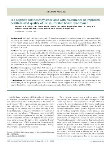 Is a negative colonoscopy associated with reassurance or improved ...