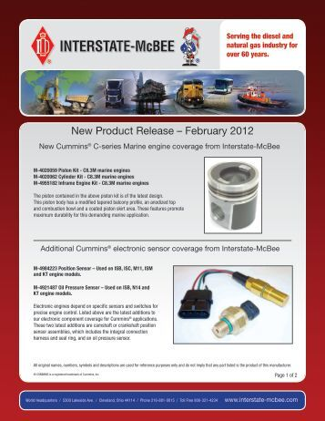 New Product Release – February 2012 - Interstate McBee