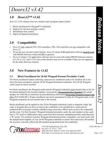 Doors32 v3.42 Doors32 Release Notes - Keri Systems