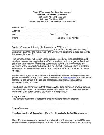 A Sample Of The Enrollment Agreement Pdf  Western