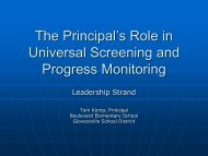 The Principal's Role in Universal Screening and ... - NYS RtI TAC