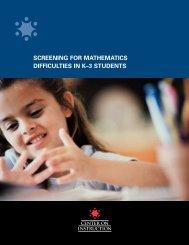 Screening for Mathematics - ERIC - U.S. Department of Education