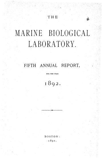 MARINE BIOLOGICAL LABORATORY. - HPS Repository - Marine ...