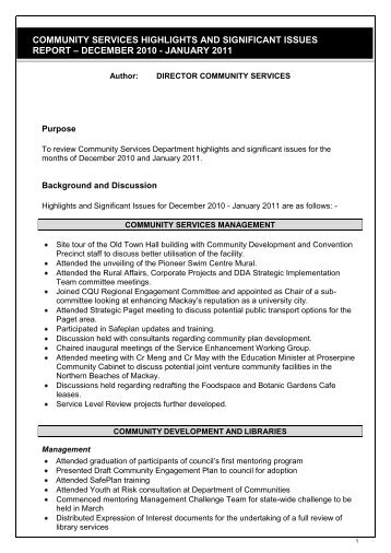 community services highlights and significant issues report - Mackay ...