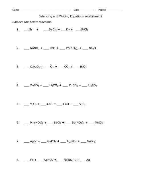 Balancing And Writing Equations Worksheet 2 Balance The