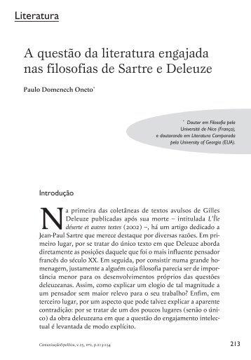 A questão da literatura engajada nas filosofias de Sartre e ... - Cebela